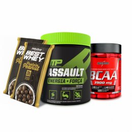 Assault (300g) - Muscle Pharrm + BCAA 3900 - 1,3g (100 tabs) - Intetgral Médica